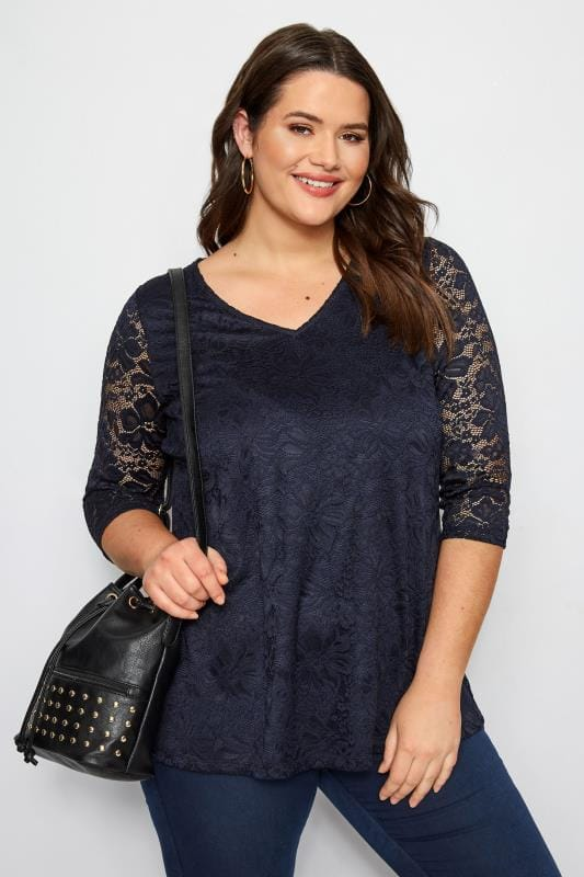 Plus Size Formal Jersey Tops Navy Floral Lace Top