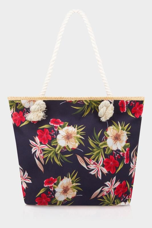 Navy Floral Beach Bag