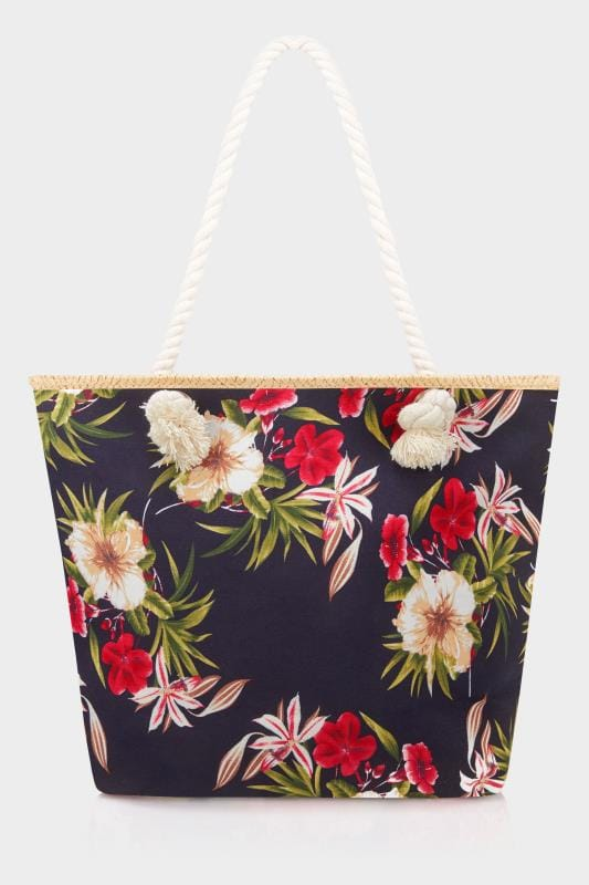 Plus Size Bags & Purses Navy Floral Print Beach Bag
