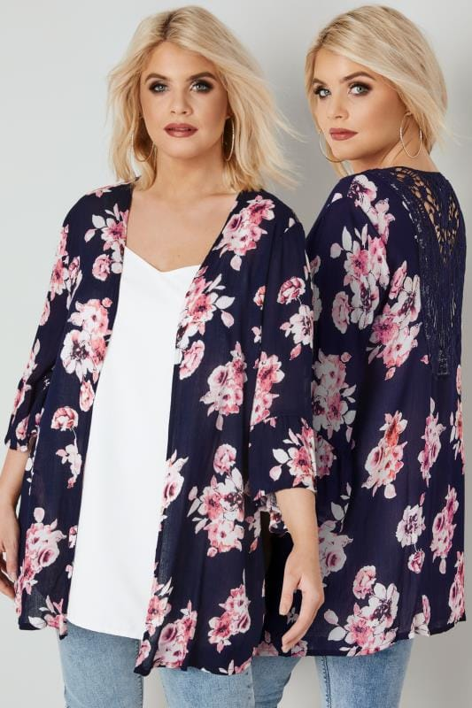 Plus Size Cover Ups Navy Floral Print Cover-Up With Crochet Back & Flute Sleeves