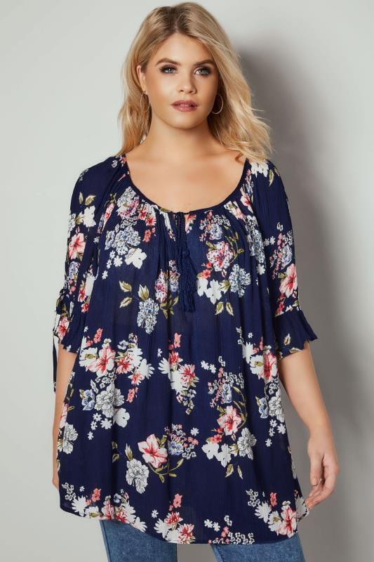 Navy Floral Print Gypsy Top With Split Sleeves