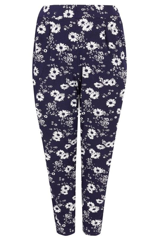 Navy Floral Print Jersey Harem Trousers With Pockets