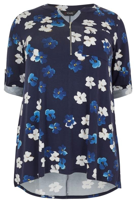 how to write ps in a letter navy floral print jersey top with zip front plus size 16 20317