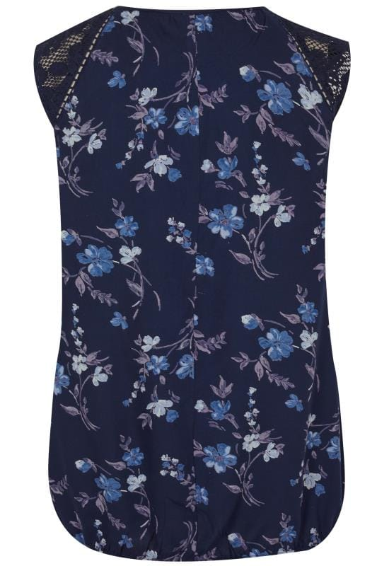 Navy Floral Print Sleeveless Bubble Top With Lace
