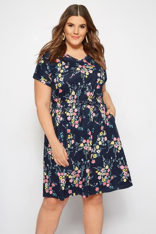 Plus Size Navy Floral T-Shirt Dress | Sizes 16 to 36 | Yours Clothing