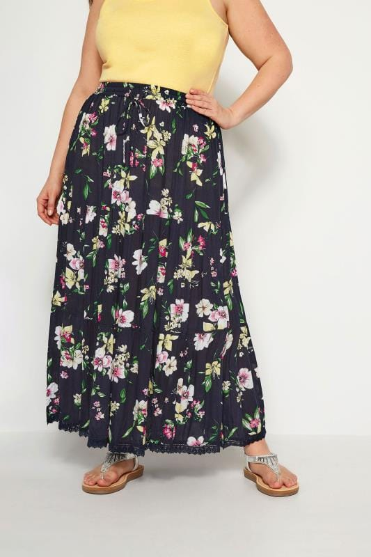 Plus Size Maxi Skirts Navy Floral Tiered Maxi Skirt