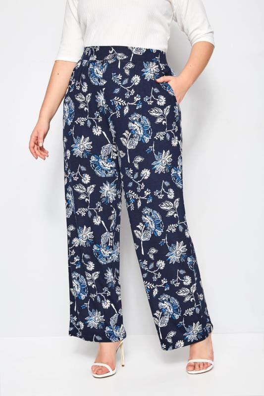 Plus Size Wide Leg & Palazzo Trousers Navy Floral Wide Leg Trousers