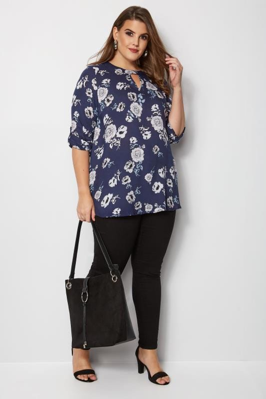 Navy Floral Woven Top