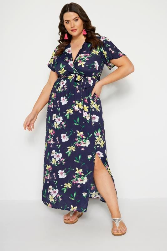 c3f3052c214 Plus Size Maxi Dresses Navy Floral Wrap Maxi Dress