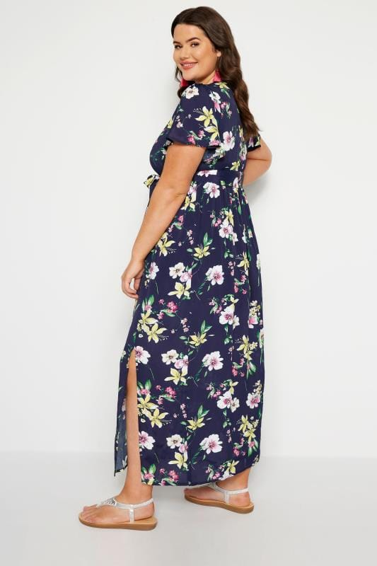 Navy Floral Wrap Maxi Dress