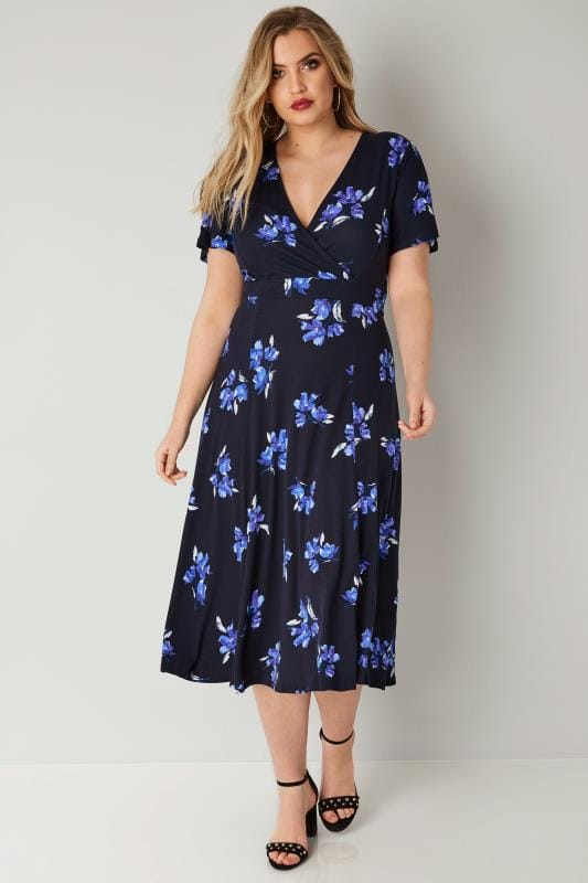 Navy Floral Wrap Over Jersey Midi Dress With Waist Tie