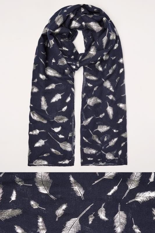 Plus Size Scarves Navy Foil Feather Print Scarf