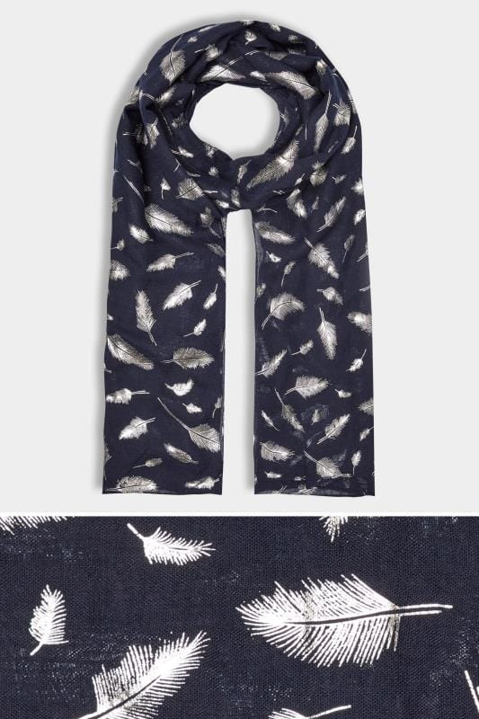 Plus Size Scarves Navy Foil Feather Scarf