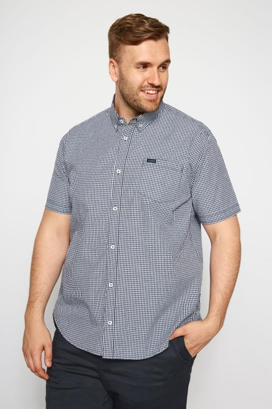 Smart Shirts BadRhino Navy Gingham Short Sleeve Shirt 201163