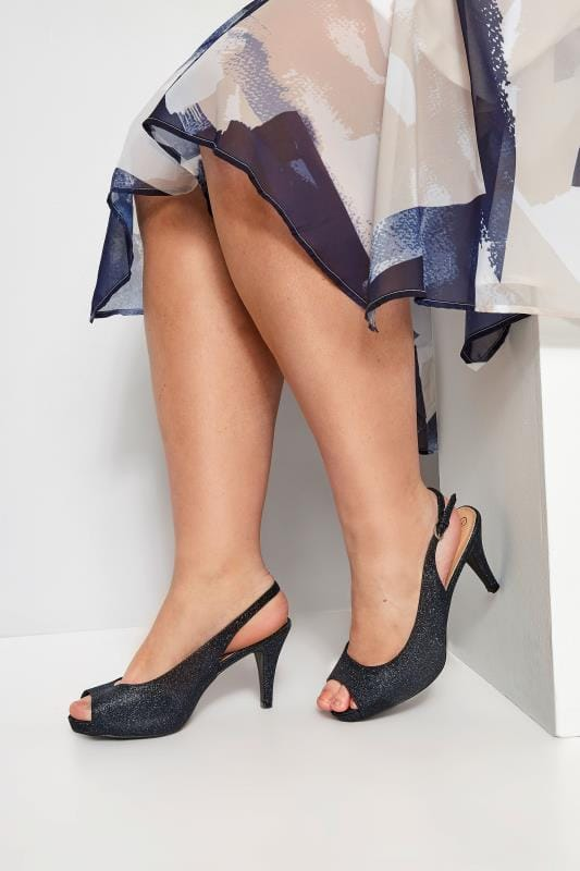 Wide Fit Heels Navy Glittery Peep Toe Sling Back Heels