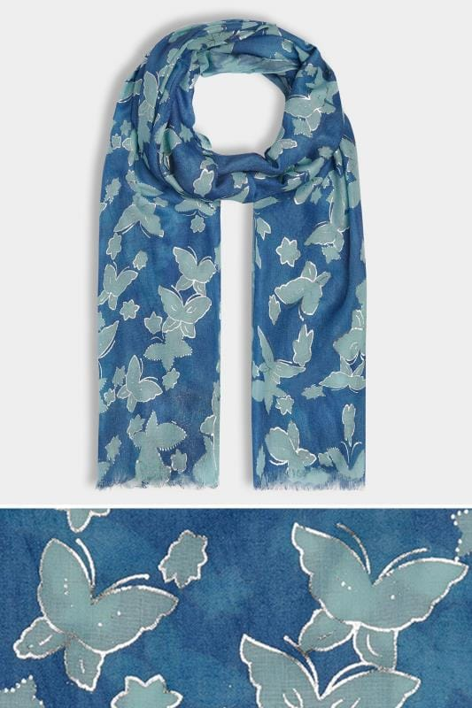 Navy & Green Butterfly Scarf