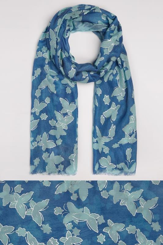 Navy & Green Butterfly Print Scarf With Gold Foil Detail