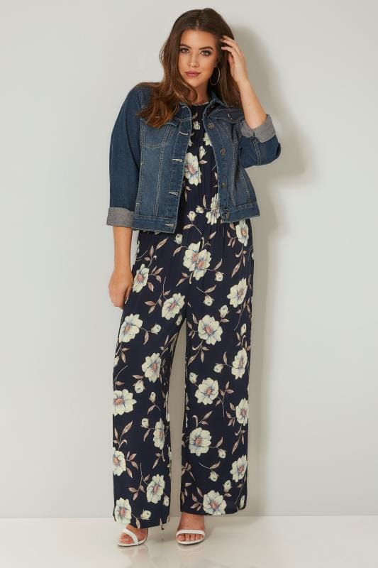 Navy & Green Floral Print Cold Shoulder Jumpsuit With Tie-Up Sleeves