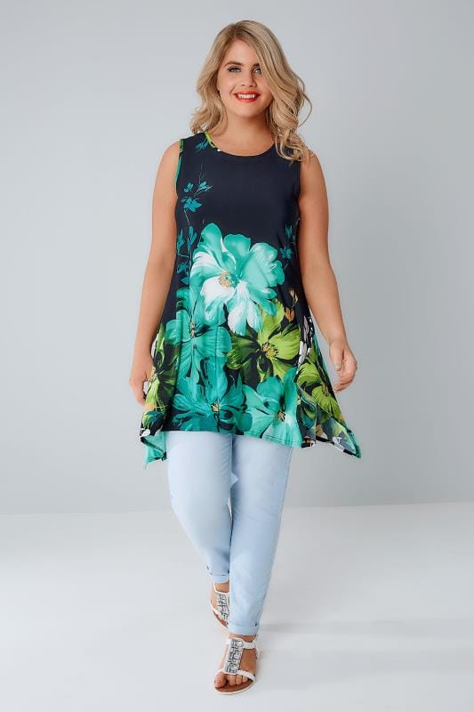 Navy & Green Floral Slinky Stretch Sleeveless Top With Hanky Hem