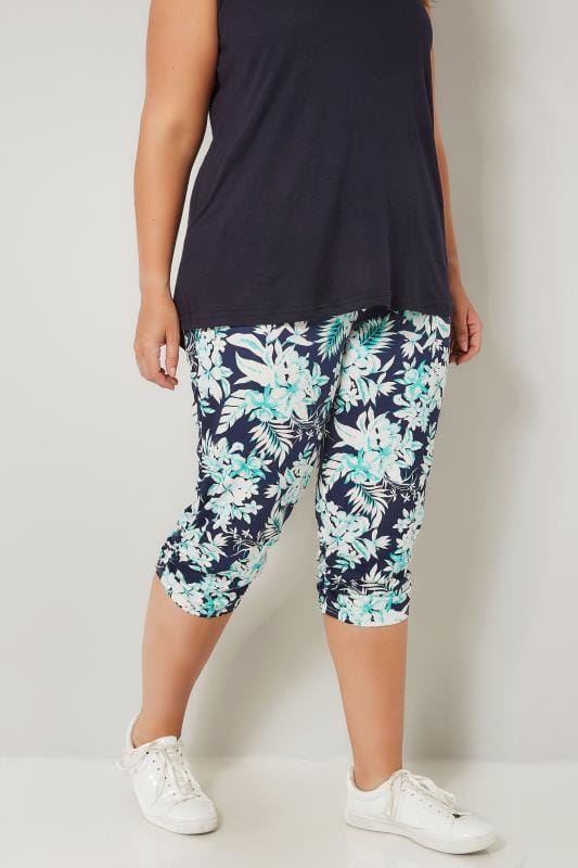 Plus Size Harem Pants Navy & Green Tropical Cropped Harem Trousers