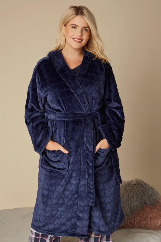 Plus Size Nightgowns Navy Heart Fleece Dressing Gown
