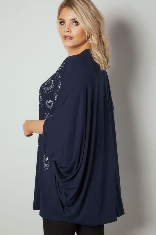 Navy Heart Studded Cape Top