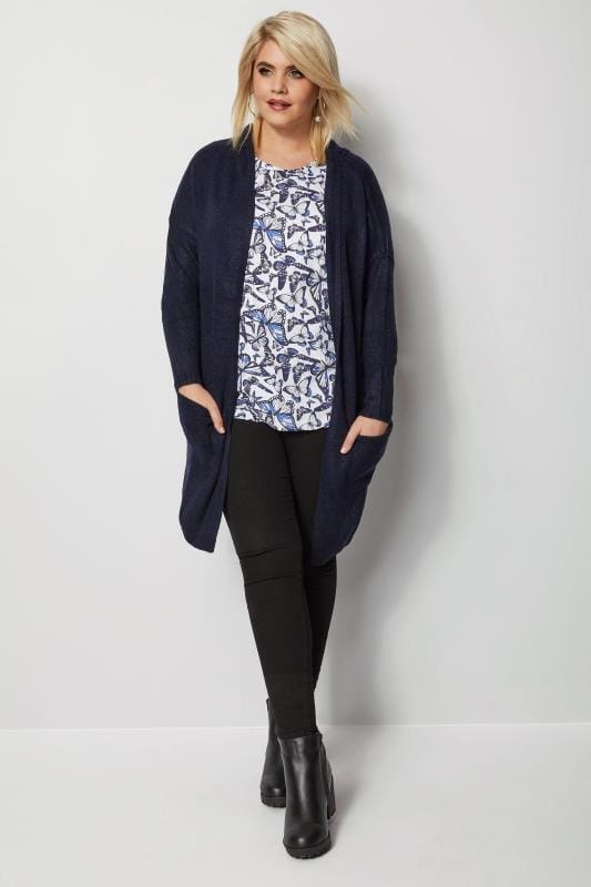 Plus Size Knitted Cardigans Navy Hooded Cardigan