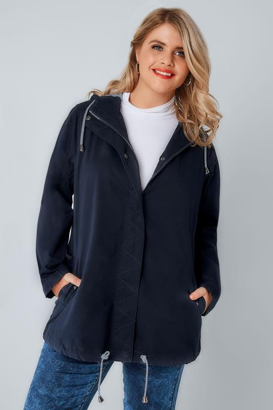 Navy Hooded Cotton Parka Jacket With Stripe Lining