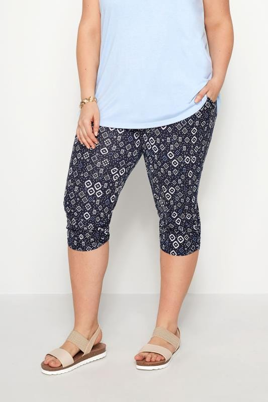 Navy Ikat Cropped Harem Trousers
