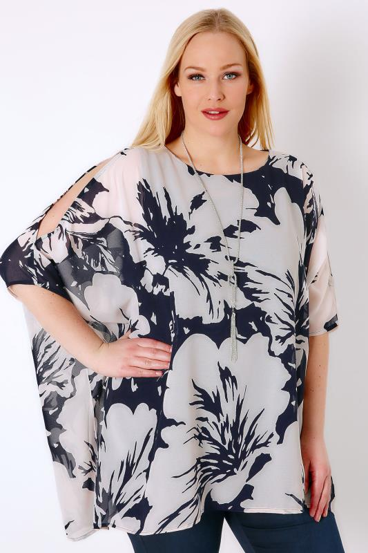 Navy & Ivory Floral Print Chiffon Cold Shoulder Top With Free Necklace