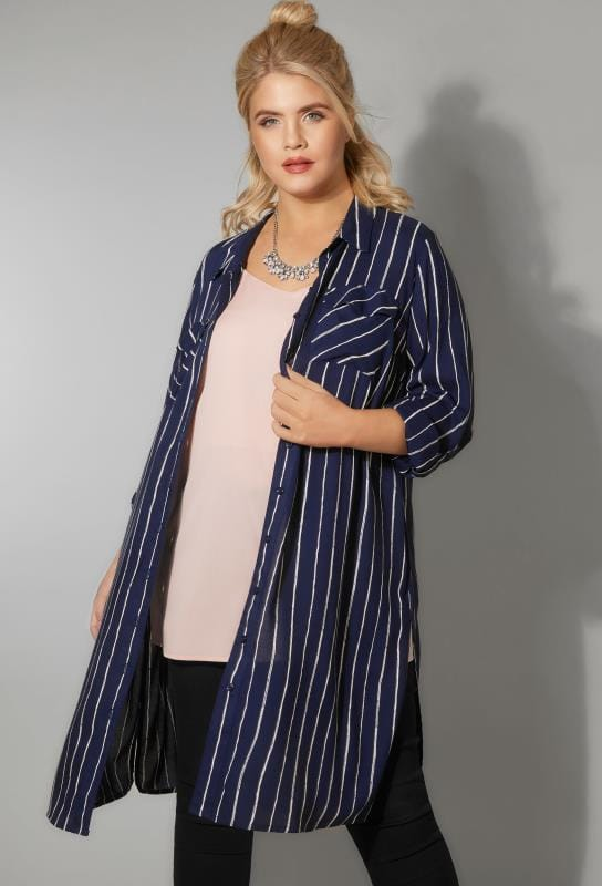 Shirts Navy & Ivory Stripe Longline Shirt With Chest Pockets 130260