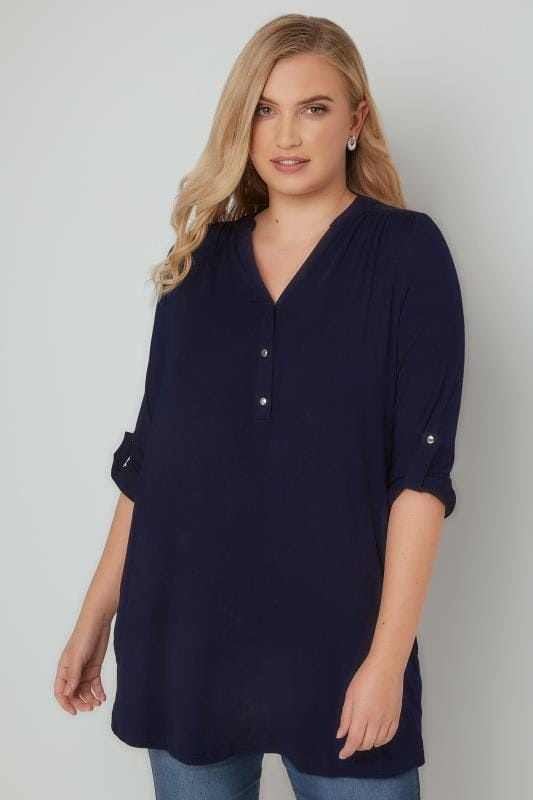 Navy Jersey Shirt With Button Fastenings