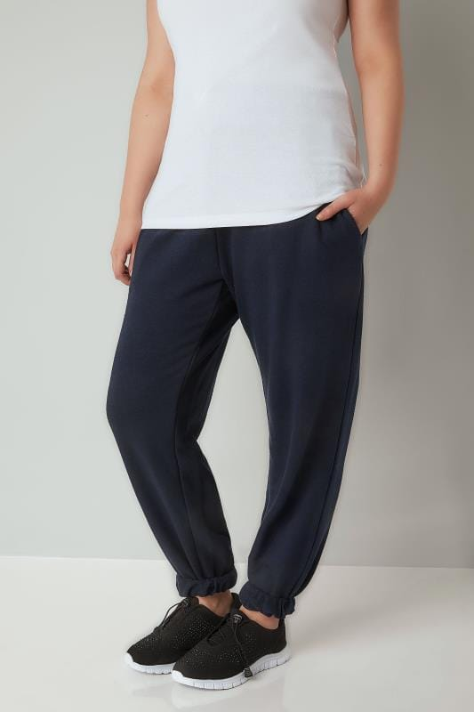 Plus Size Joggers Navy Joggers With Elasticated Cuffs