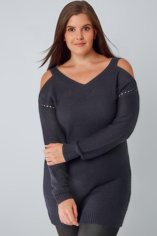 Navy Knitted Cold Shoulder Jumper With Pointelle Detail
