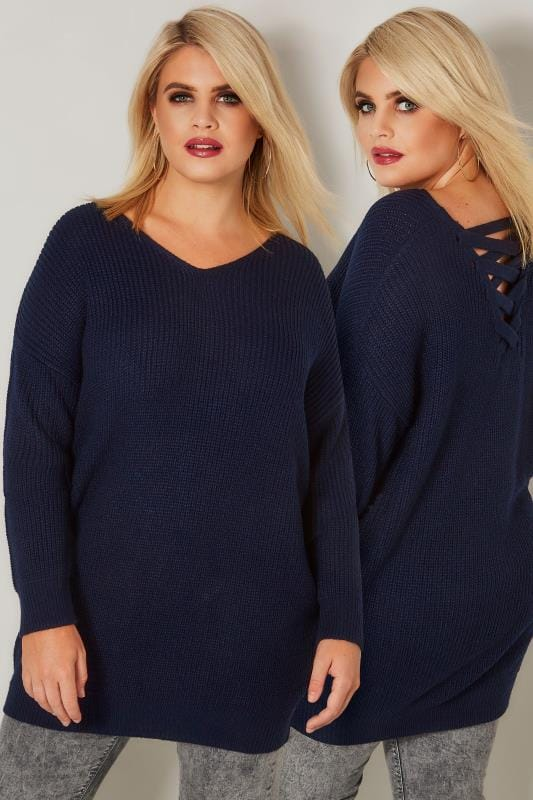 Plus Size Jumpers Navy Knitted Jumper With Cross Over Straps