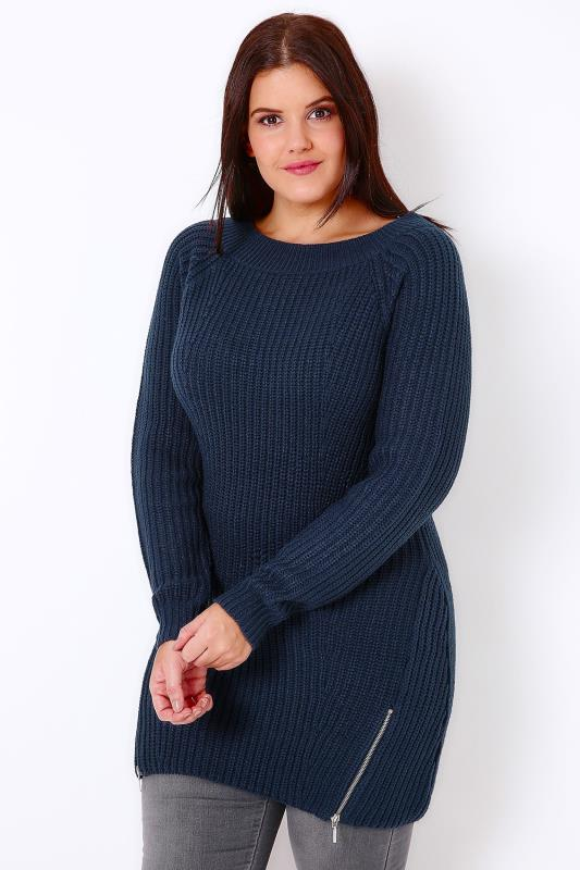 Navy Knitted Longline Jumper With Zip Hem Detail