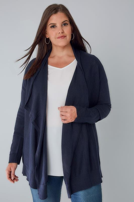 Plus Size Cardigans Navy Knitted Waterfall Cardigan
