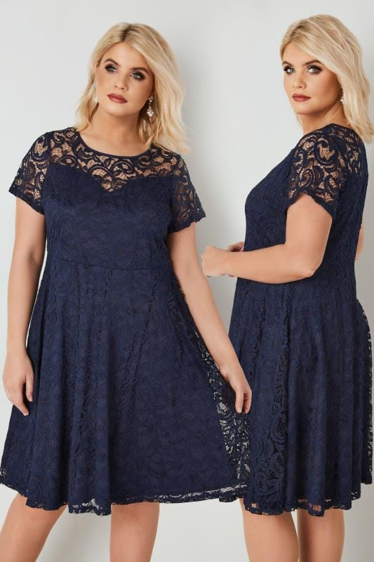 Plus Size Party Dresses Navy Lace Skater Dress With Sweetheart Bust