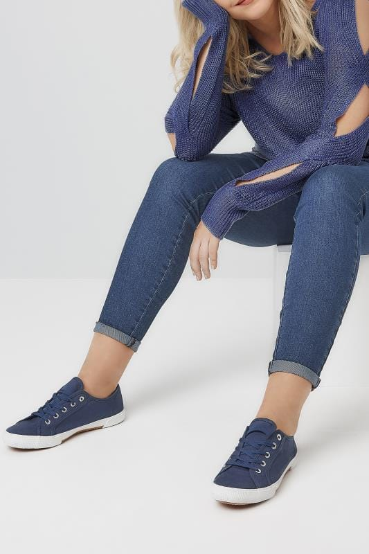 Navy Lace Up Canvas Trainers In TRUE EEE Fit