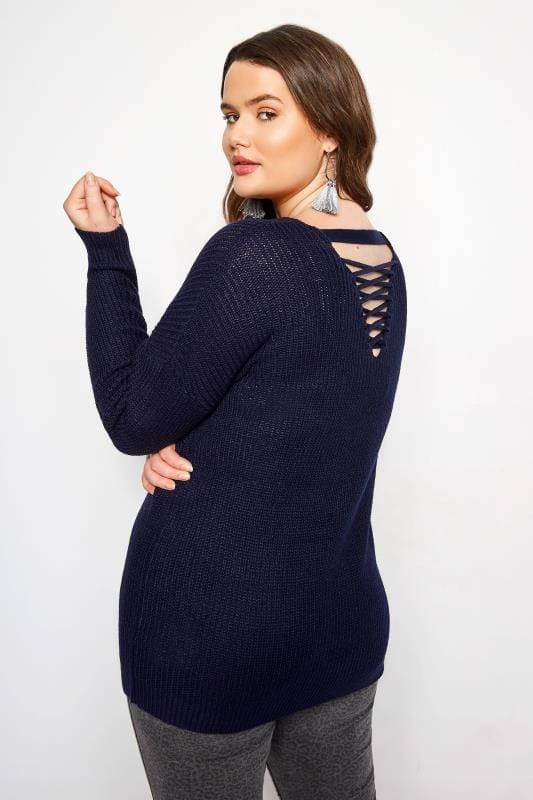 Plus Size Knitted Tops & Jumpers Navy Lattice Back Knitted Jumper