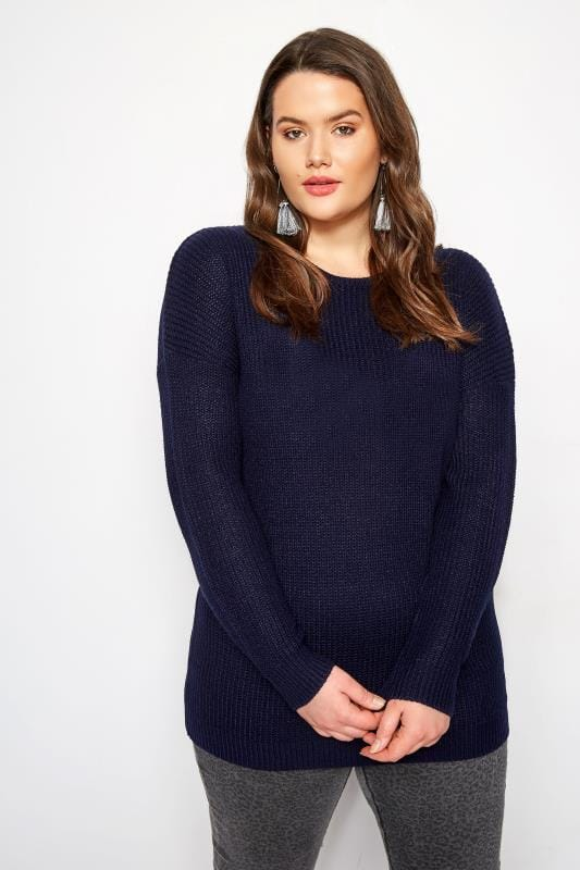 Navy Lattice Back Knitted Jumper