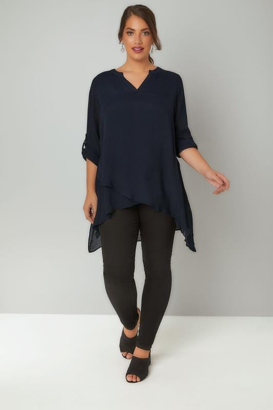 Navy Layered Blouse With Notch Neck