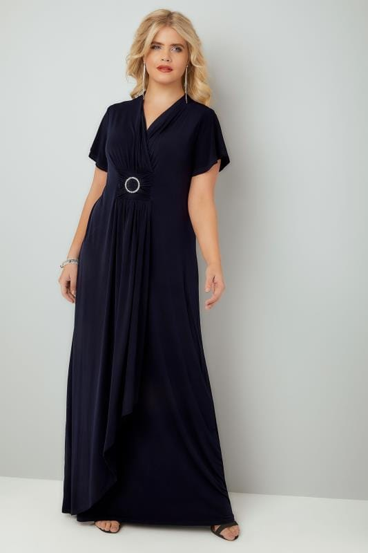 Plus Size Evening Dresses YOURS LONDON Navy Layered Maxi Dress With Ring Detail