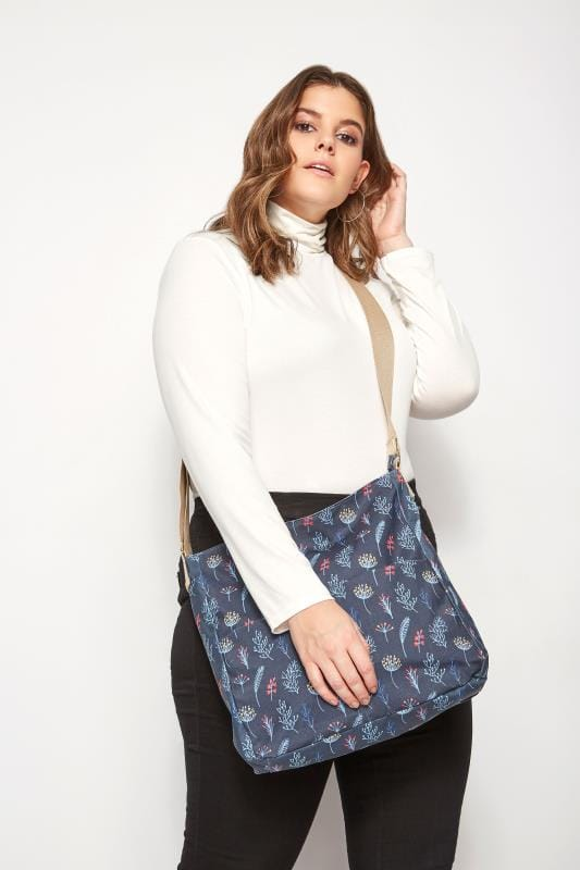 Plus Size Bags & Purses Navy Leaf Print Coated Shoulder Bag