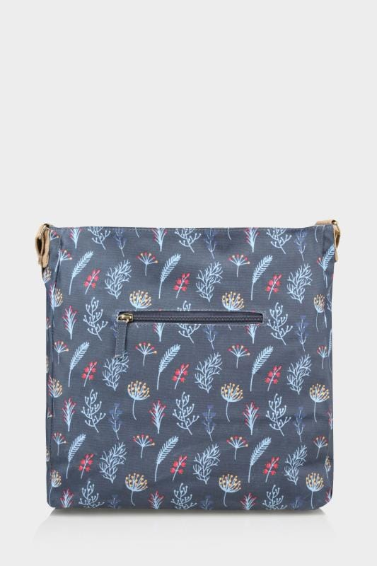 Navy Leaf Print Coated Shoulder Bag