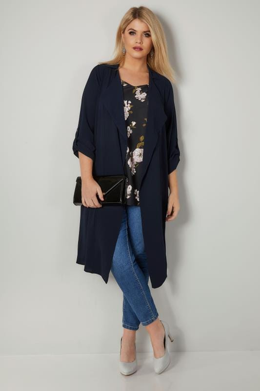 Plus Size Coats Navy Lightweight Duster Jacket With Waterfall Front
