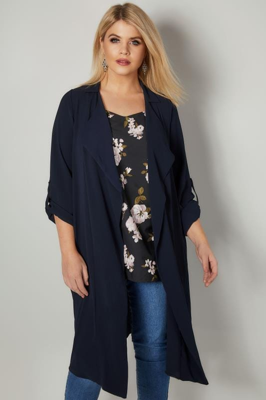 Navy Lightweight Duster Jacket With Waterfall Front