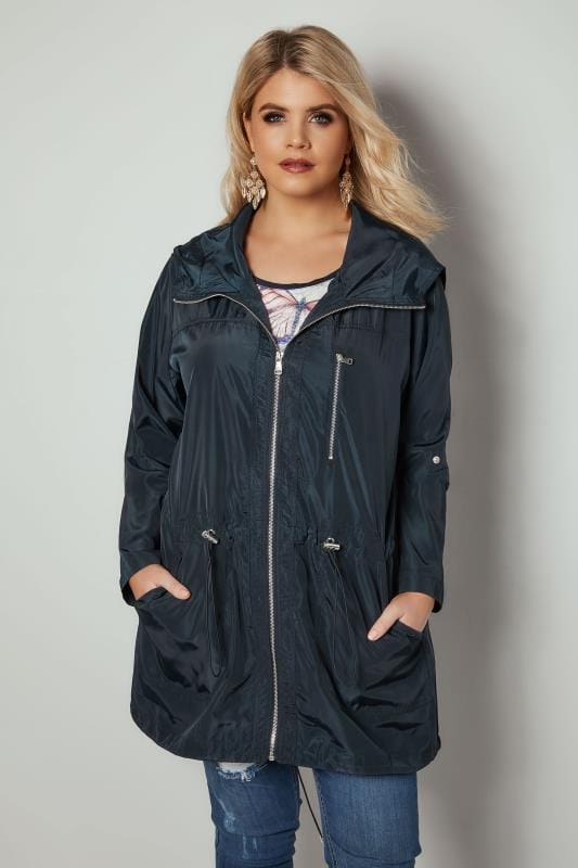 Plus Size Parka Coats Navy Lightweight Hooded Parka Jacket