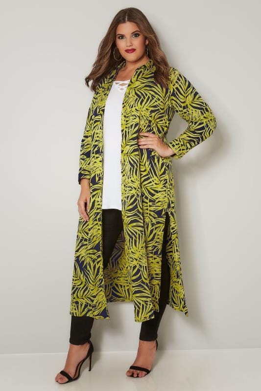 Navy & Lime Green Leaf Print Maxi Shirt