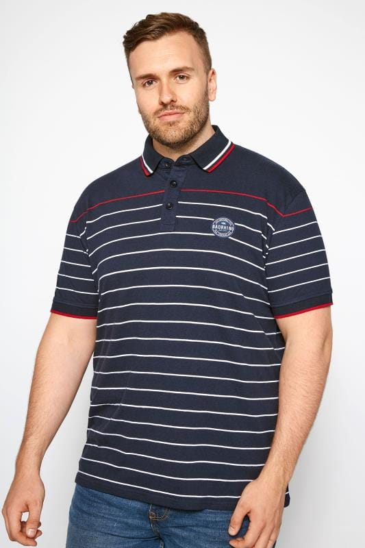 T-Shirts Navy Linear Striped Polo Shirt 201038